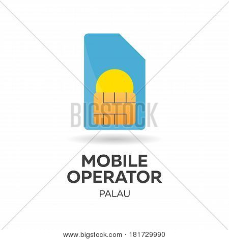 Palau Mobile Operator. Sim Card With Flag. Vector Illustration.
