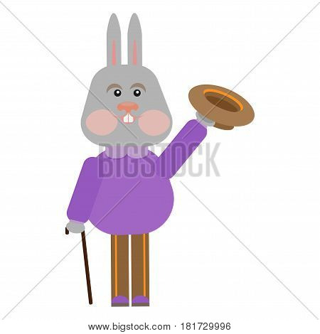 cartoon illustration of a rabbit with a hat and cane