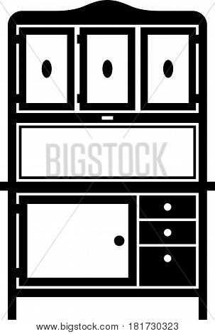 Hoosier cabinet, a piece of furniture on white background