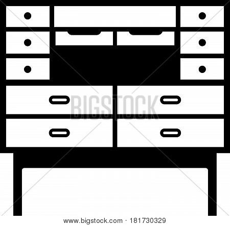 Secretary desk, a piece of furniture on white background