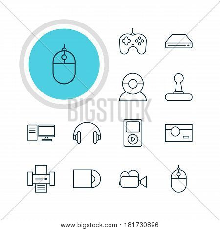 Vector Illustration Of 12 Gadget Icons. Editable Pack Of Photocopier, Video Chat, Camcorder And Other Elements.