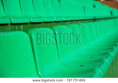 Empty Green Seats In Stadium