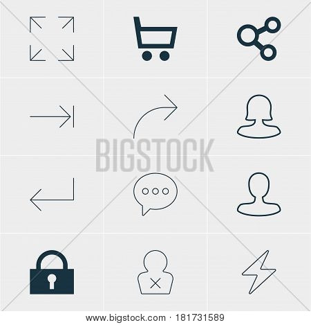 Vector Illustration Of 12 Member Icons. Editable Pack Of Share, Banned Member, Female User And Other Elements.