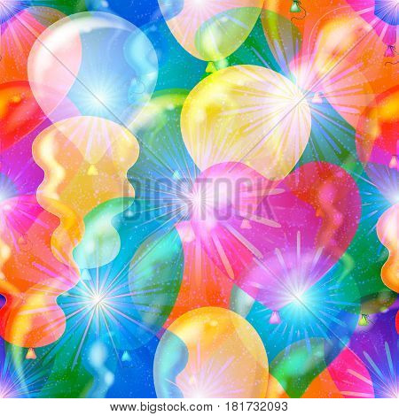 Seamless Background with Beautiful Flying Colorful Balloons and Bright Fireworks, Holiday Tile Pattern for your Design. Eps10, Contains Transparencies. Vector