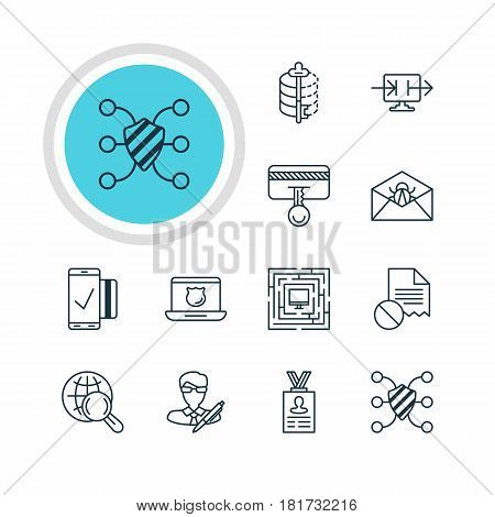 Vector Illustration Of 12 Privacy Icons. Editable Pack Of Internet Surfing, System Security, Copyright And Other Elements.
