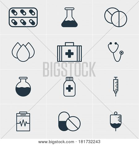 Vector Illustration Of 12 Medical Icons. Editable Pack Of Medicine, Trickle, Medicine Jar And Other Elements.