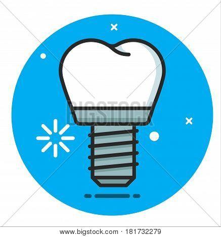 Dental titanium Implant Vector Icon illustration design