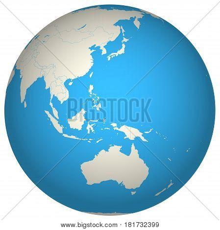Globe 3D Asia Pacific Ocean Oceania Australia