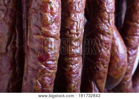 Traditional Polish pork sausages just taen from the smoker.