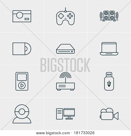 Vector Illustration Of 12 Accessory Icons. Editable Pack Of Dvd Drive, Camcorder, Loudspeaker And Other Elements.