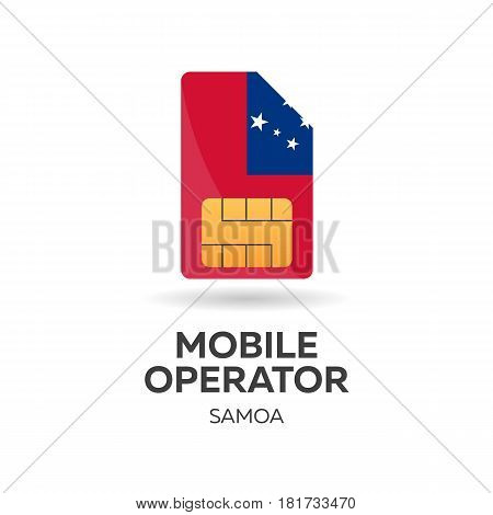 Samoa Mobile Operator. Sim Card With Flag. Vector Illustration.