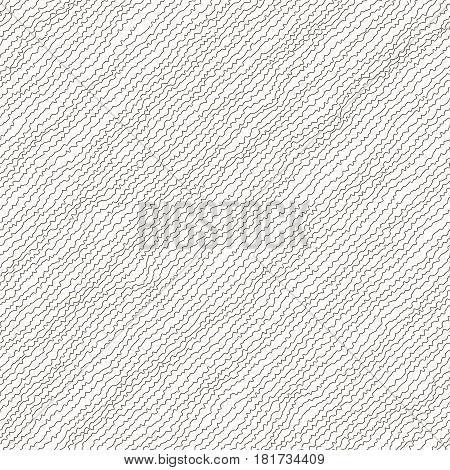 Vector illustration of black and white colored seamless pattern. Abstract background. Irregular diagonal texture. Simple design. Textured slanting lines ornament. Scribble effect.