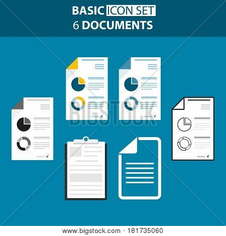 Set Of Documents, Statictic, Presentation, List Icon And Summery Report. Vector Illustration.