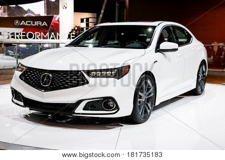 NEW YORK- APRIL 12: Acura TLX shown at the New York International Auto Show 2017, at the Jacob Javits Center. This was Press Preview Day One of NYIAS, on April 12, 2017 in New York City