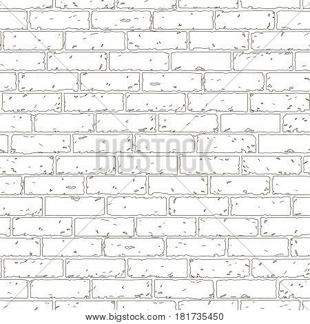 White wall grunge brick background. Rustic blocks texture template. Seamless pattern. Vector illustration of building block.