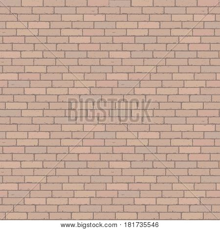 Brown wall grunge brick background. Rustic blocks texture template. Seamless pattern. Vector illustration of building block.