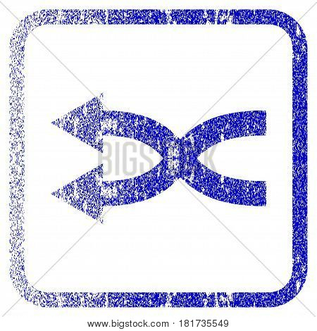 Shuffle Arrows Left textured icon for overlay watermark stamps. Blue vectorized texture. Flat vector symbol with dust design inside rounded square frame. Framed blue rubber seal stamp imitation.