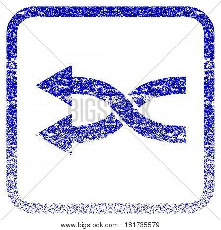 Shuffle Arrows Left textured icon for overlay watermark stamps. Blue vectorized texture. Flat vector symbol with unclean design inside rounded square frame. Framed blue rubber seal stamp imitation.