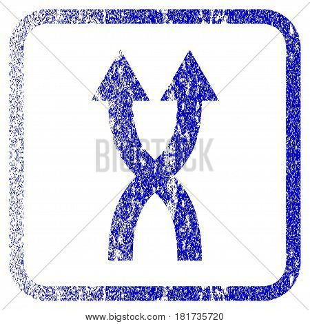 Shuffle Arrows Up textured icon for overlay watermark stamps. Blue vectorized texture. Flat vector symbol with scratched design inside rounded square frame. Framed blue rubber seal stamp imitation.