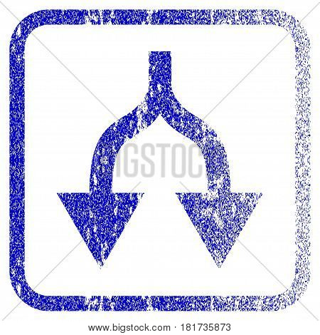 Split Arrows Down textured icon for overlay watermark stamps. Blue vectorized texture. Flat vector symbol with dirty design inside rounded square frame. Framed blue rubber seal stamp imitation.