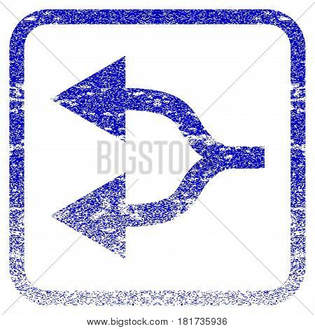 Split Arrows Left textured icon for overlay watermark stamps. Blue vectorized texture. Flat vector symbol with dirty design inside rounded square frame. Framed blue rubber seal stamp imitation.