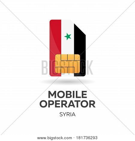 Syria Mobile Operator. Sim Card With Flag. Vector Illustration.