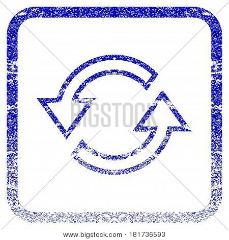Sync Arrows textured icon for overlay watermark stamps. Blue vectorized texture. Flat vector symbol with scratched design inside rounded square frame. Framed blue rubber seal stamp imitation.