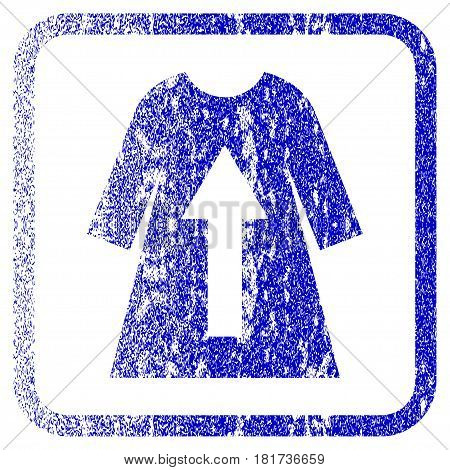 Take Off Female Dress textured icon for overlay watermark stamps. Blue vectorized texture. Flat vector symbol with scratched design inside rounded square frame.