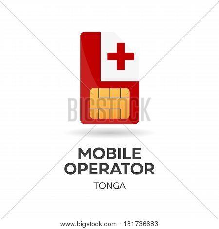 Tonga Mobile Operator. Sim Card With Flag. Vector Illustration.