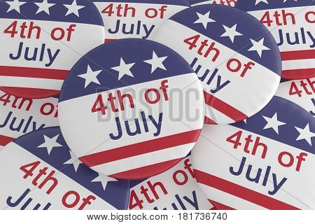 Pile of Fourth of July Buttons With US Flag 3d illustration
