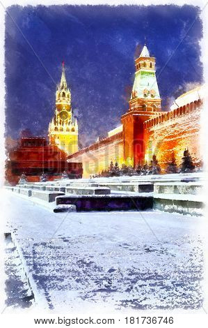 Red square and Kremlin at night colorful painting, Moscow, Russia