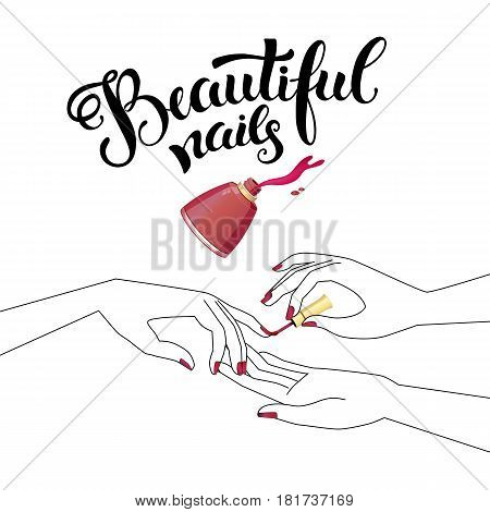Beautiful manicure, illustration for Beauty salon, brochure or logo. Used modern hand drawn lettering and silhouette of woman hands