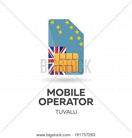 Tuvalu Mobile Operator. Sim Card With Flag. Vector Illustration.
