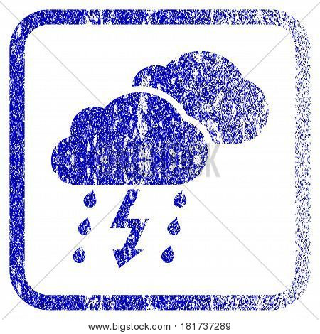 Thunderstorm Clouds textured icon for overlay watermark stamps. Blue vectorized texture. Flat vector symbol with unclean design inside rounded square frame. Framed blue rubber seal stamp imitation.