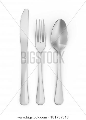 Spoon fork and knife on white background. 3d illustration.