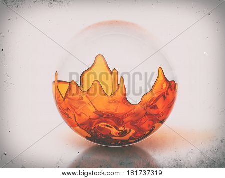 Glass ball with orange liquid on a dirty background. 3D illustration.