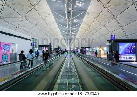 Hong Kong - circa March 2017: Departure gate area inside of Hong Kong International Airport. It is the main airport in Hong Kong. The airport is located on the island of Chek Lap Kok