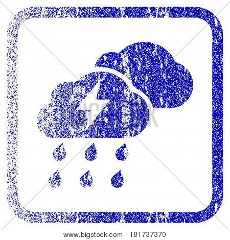 Thunderstorm Clouds textured icon for overlay watermark stamps. Blue vectorized texture. Flat vector symbol with dust design inside rounded square frame. Framed blue rubber seal stamp imitation.