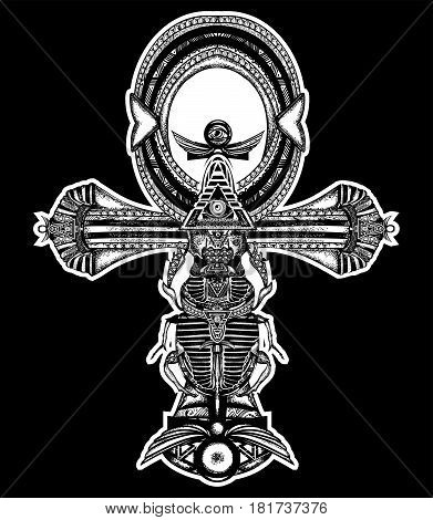 Ankh tattoo ancient egyptian cross t-shirt design. Decorative ethnic style of Ancient Egypt. Ankh symbol of eternal life tattoo key to immortality
