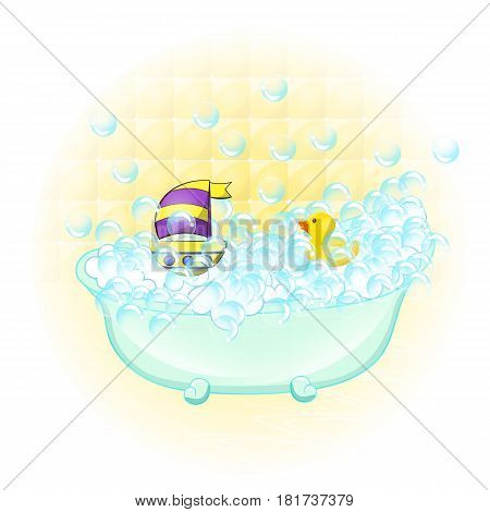 Retro Bathroom interior. soap bubbles. Bathtub with foam bubbles inside and bath yellow rubber duck and boat ion wall background. Bath time vintage style cartoon illustration