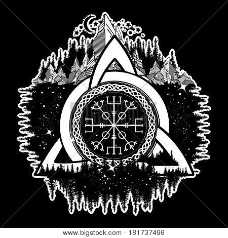 Celtic trinity knot Helm of Awe aegishjalmur tattoo. Scandinavian symbols of Vikings travelers mascot. Celtic tattoo boho style t-shirt design