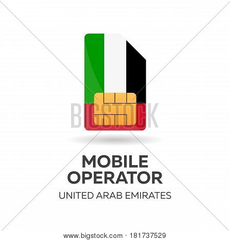 United Arab Emirates Mobile Operator. Uae. Sim Card With Flag. Vector Illustration.