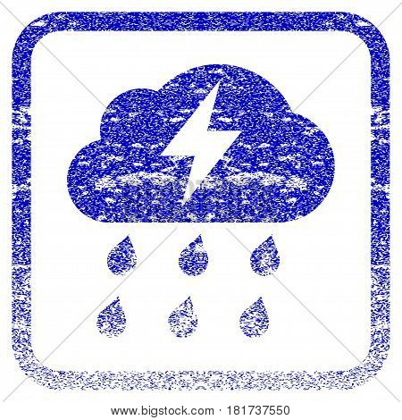 Thunderstorm textured icon for overlay watermark stamps. Blue vectorized texture. Flat vector symbol with scratched design inside rounded square frame. Framed blue rubber seal stamp imitation.