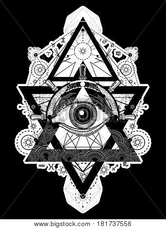 All seeing eye tattoo art vector. Freemason and spiritual symbols. Alchemy medieval religion occultism spirituality and esoteric tattoo. Magic eye compass and steering wheel t-shirt design