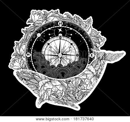 Antique compass and floral whale tattoo art. Mystical symbol of adventure dreams. Compass and Whale t-shirt design. Travel adventure outdoors symbol whale marine tattoo