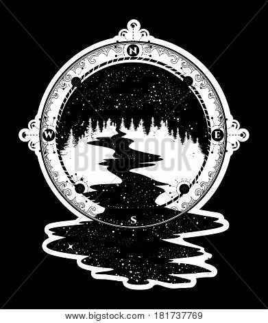 Star river flows from the compass tattoo art travel symbol tourism. Antique compass and stellar river t-shirt design surreal graphics boho style tattoo