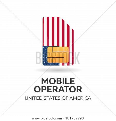 United States Of America Mobile Operator. Usa. Sim Card With Flag. Vector Illustration.