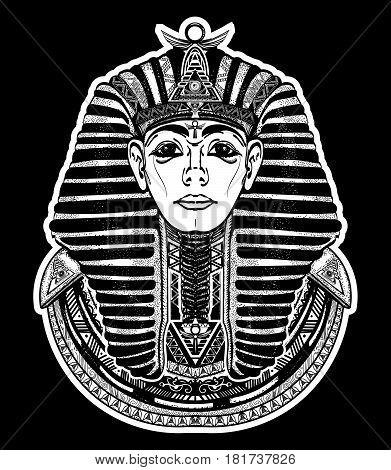 Pharaoh tattoo art Egypt pharaoh graphic t-shirt design. Great king of ancient Egypt. Tutankhamen mask tatoo. Egyptian golden pharaohs mask ethnic style tattoo vector