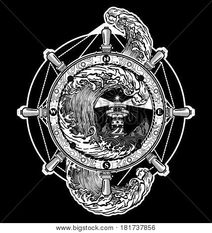 Steering wheel ship tatto art sea tattoo and t-shirt design. Lighthouse storm. Decorative lighthouse. Searchlight tower for maritime navigational guidance tattoo. Ocean wave storm art