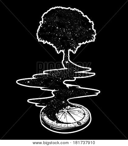 Magical tree tattoo art river of stars psychology symbol tourism travel. Surrealist concept of life and immortality. Star Compass. T-shirt design